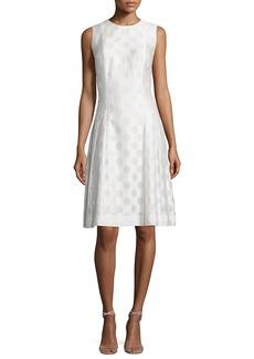 Carmen Marc Valvo Sleeveless Polka Dot Fit & Flare Dress