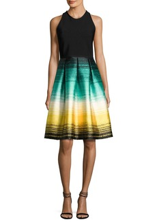 Carmen Marc Valvo Sleeveless Ponte & Striped Taffeta Cocktail Dress