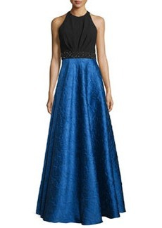 Carmen Marc Valvo Sleeveless Ponte & Taffeta Combo Gown