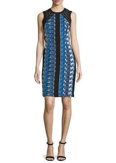 Carmen Marc Valvo Sleeveless Printed Cocktail Dress