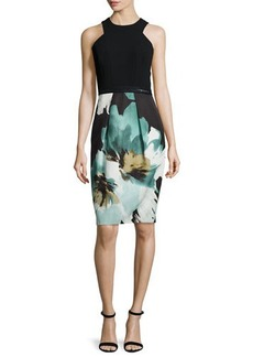 Carmen Marc Valvo Sleeveless Printed Cocktail Dress W/ Lace Hem