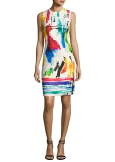 Carmen Marc Valvo Sleeveless Printed Jacquard Cocktail Dress
