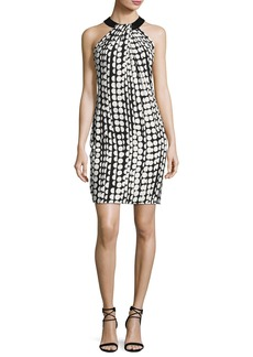 Carmen Marc Valvo Sleeveless Printed Ponte Sheath Dress