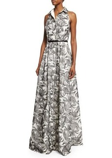 Carmen Marc Valvo Sleeveless Printed Shirtdress Gown