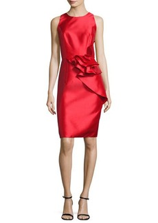 Carmen Marc Valvo Sleeveless Ruffle-Trim Satin Cocktail Dress
