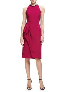 Carmen Marc Valvo Sleeveless Ruffle-Trim Sheath Dress