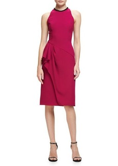Carmen Marc Valvo Sleeveless Ruffle-Trim Sheath Dress