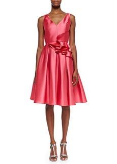 Carmen Marc Valvo Sleeveless Ruffle Waist Party Dress