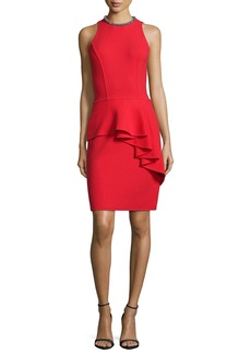Carmen Marc Valvo Sleeveless Ruffled Peplum Cocktail Dress