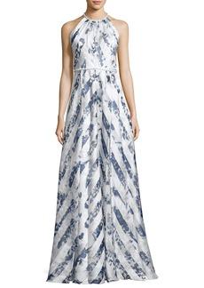Carmen Marc Valvo Sleeveless Satin Floral Stripe Gown