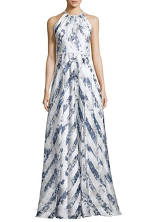 Carmen Marc Valvo Sleeveless Satin Floral Stripe Gown
