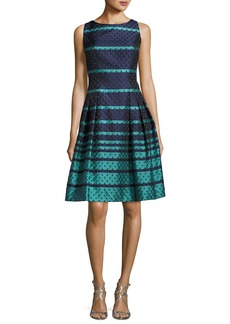 Carmen Marc Valvo Sleeveless Scalloped Jacquard Fit & Flare Dress