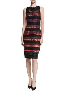 Carmen Marc Valvo Sleeveless Sequined Lace Striped Cocktail Sheath Dress