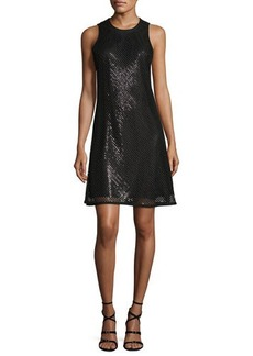 Carmen Marc Valvo Sleeveless Sequined Mesh A-Line Cocktail Dress