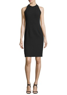 Carmen Marc Valvo Sleeveless Sheath Dress W/Back Cutouts