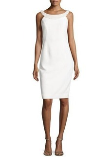 Carmen Marc Valvo Sleeveless Sheath Dress W/Fringe Trim