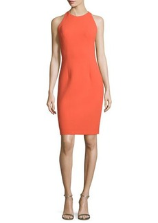 Carmen Marc Valvo Sleeveless Sheath Dress with Back Cutouts