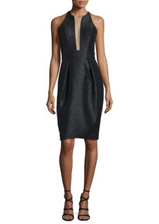 Carmen Marc Valvo Sleeveless Shimmery Deep-Illusion Cocktail Dress