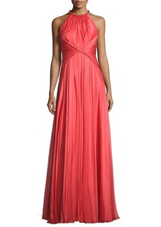 Carmen Marc Valvo Sleeveless Shirred Silk Gown
