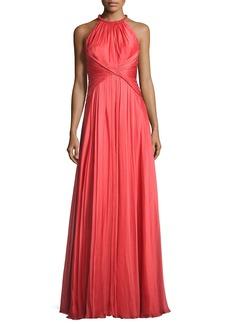 Carmen Marc Valvo Sleeveless Shirred Silk Gown