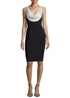 Carmen Marc Valvo Sleeveless Silk-Trim Crepe Sheath Dress
