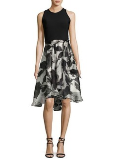 Carmen Marc Valvo Sleeveless Solid Ponte & Floral Silk Cocktail Dress