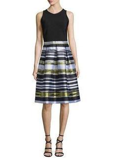Carmen Marc Valvo Sleeveless Striped Combo Fit & Flare Dress