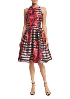Carmen Marc Valvo Sleeveless Striped Fit-and-Flare Dress