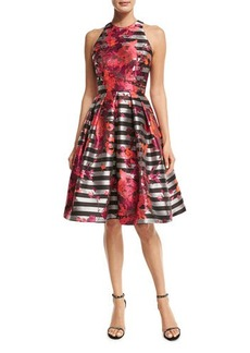 Carmen Marc Valvo Sleeveless Striped Fit-and-Flare Dress