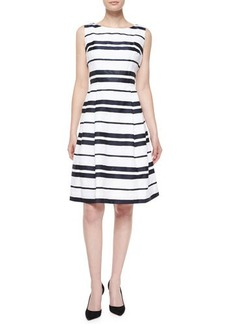Carmen Marc Valvo Sleeveless Striped Pleated-Skirt Dress