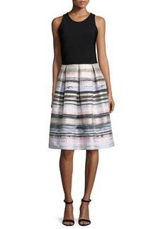 Carmen Marc Valvo Sleeveless Striped-Skirt Dress