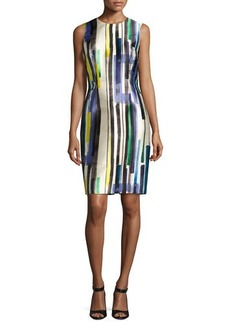 Carmen Marc Valvo Sleeveless Striped Twill Cocktail Dress