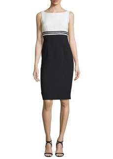Carmen Marc Valvo Sleeveless Two-Tone Sheath Dress