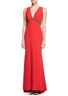 Carmen Marc Valvo Sleeveless V-Neck Column Gown