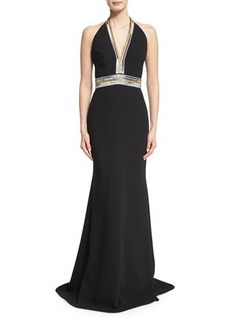 Carmen Marc Valvo Sleeveless V-Neck Embellished Column Gown