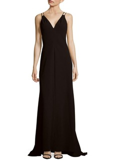 Carmen Marc Valvo Sleeveless V-Neck Gown