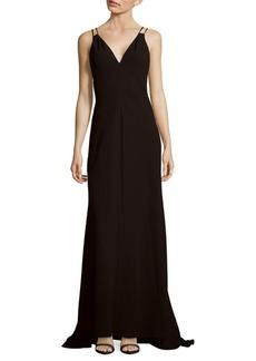 Carmen Marc Valvo Sleeveless V-Neck Gown