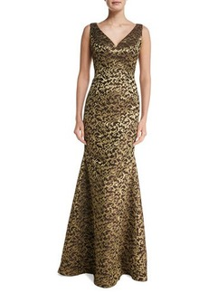 Carmen Marc Valvo Sleeveless V-Neck Scroll Lace Gown