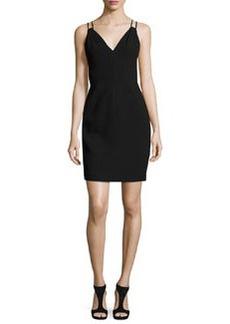 Carmen Marc Valvo Sleeveless Velvet Sheath Dress