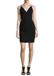 Carmen Marc Valvo Sleeveless Velvet Sheath Dress