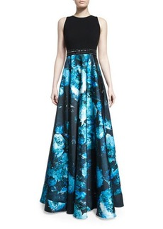 Carmen Marc Valvo Sleeveless Wool & Floral Satin Combo Gown