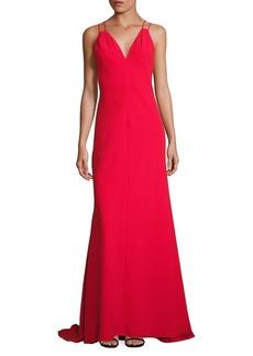 Carmen Marc Valvo Solid Double Strap Dress