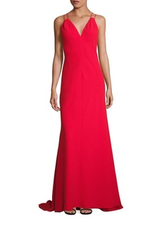 Carmen Marc Valvo Solid Double Strap Dress
