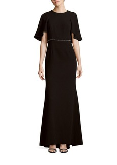 Carmen Marc Valvo Solid Roundneck Gown
