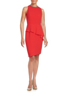 Carmen Marc Valvo Solid Sheath Dress