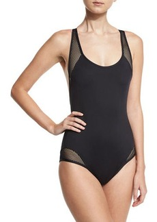 Carmen Marc Valvo Sporty Soul Mesh Zip-Back One-Piece Swimsuit