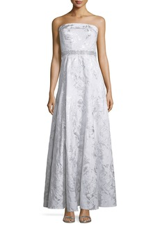 Carmen Marc Valvo Strapless Embellished-Waist Gown  Silver