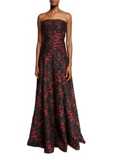 Carmen Marc Valvo Strapless Floral Brocade Ball Gown