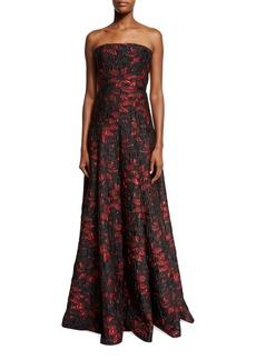 Carmen Marc Valvo Strapless Floral Brocade Ball Gown