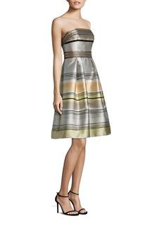 Carmen Marc Valvo Strapless Striped Dress